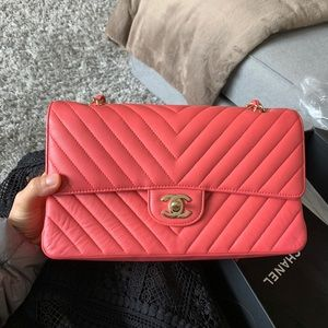 Chanel Chevron medium classic flap bag coral